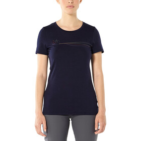 Icebreaker Tech Lite Cadence Paths Top Manga Corta Cuello Barco Mujer, midnight navy
